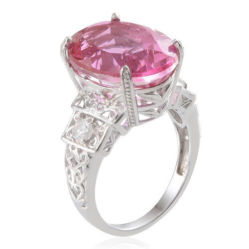 Kunzite Colour Quartz (Ovl 13.75 Ct), White Topaz Ring in Platinum Overlay Sterling Silver 14.000 Ct.
