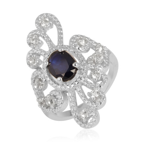 Diffused Blue Sapphire (Ovl 1.68 Ct), White Topaz Ring in Rhodium Plated Sterling Silver 2.400 Ct.
