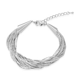 25 Stranded - Box Chain Braided Bracelet in Silver Tone (Size 8 with 2 inch Extender)