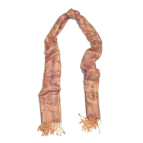 SILK MARK - 100% Superfine Silk Pink Colour Paisley and Leaves Pattern Peach Colour Jacquard Jamawar Shawl with Fringes (Size 180x70 Cm) (Weight 125-140 Grams)