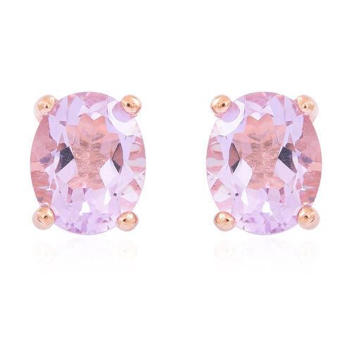 Rose De France Amethyst (Ovl) Stud Earrings (with Push Back) in Rose Gold Overlay Sterling Silver 4.500 Ct.