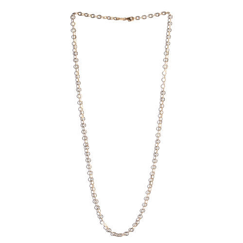 14K Gold Overlay Sterling Silver Diamond Cut Open Circle Chain (Size 30), Silver wt 8.70 Gms.