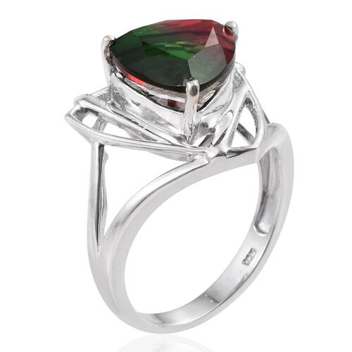 Bi-Color Tourmaline Quartz (Trl) Solitaire Ring in Platinum Overlay Sterling Silver 6.250 Ct.
