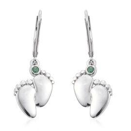 Kagem Zambian Emerald (Rnd) Lever Back Earrings in Platinum Overlay Sterling Silver