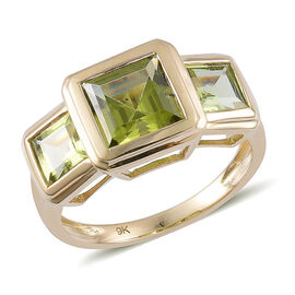 9K Y Gold AAA Hebei Peridot (Sqr 1.75 Ct) 3 Stone Ring 3.250 Ct.
