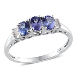 AA Tanzanite (Ovl), Diamond Ring in Platinum Overlay Sterling Silver 1.060 Ct.