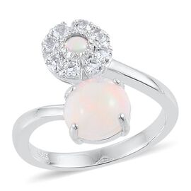 Ethiopian Welo Opal (Rnd 1.25 Ct), White Topaz Ring in Platinum Overlay Sterling Silver 1.600 Ct.