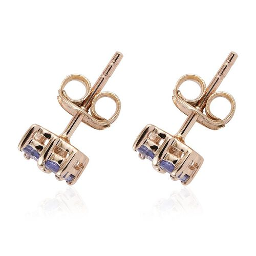 9K Yellow Gold 0.50 Carat Tanzanite Round Stud Earrings with Push Back.