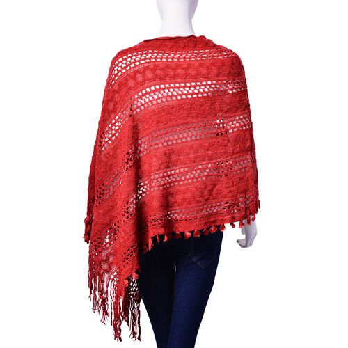 Red Colour Poncho with Tassel (Size 65 Cm)