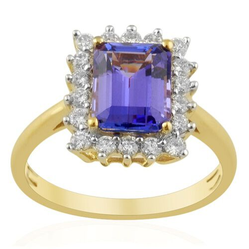 ILIANA AAA Tanzanite (2.40 Ct) and Diamond 18K Y Gold Ring  2.855 Ct.