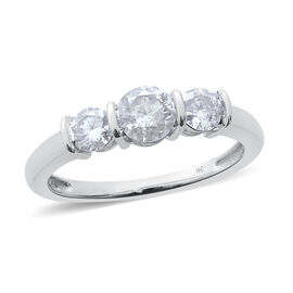 9K W Gold SGL Certified Diamond (Rnd 0.50 Ct) (I2/ G-H) 3 Stone Ring 1.000 Ct.