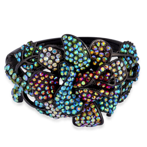 Blue and Multi Colour Austrian Crystal Flower Statement Bangle (Size 7.5) in Black Tone