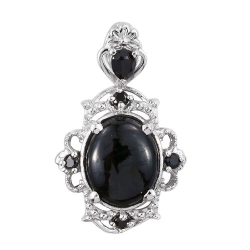 Black Jade (Ovl), Boi Ploi Black Spinel Pendant in Platinum Overlay Sterling Silver 3.000 Ct.