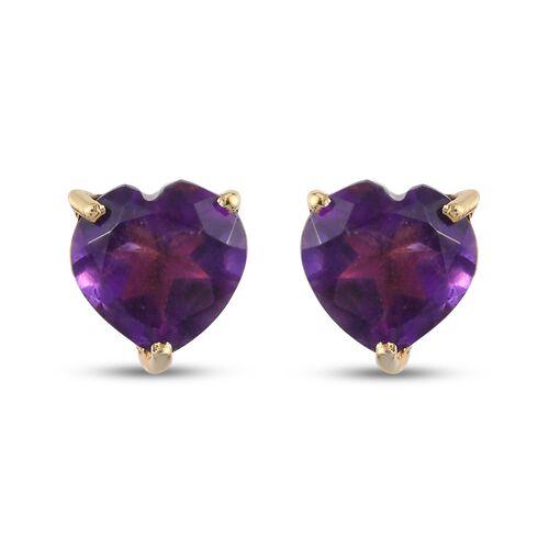 Amethyst 2 Carat Silver Heart Stud Earrings in Gold Overlay