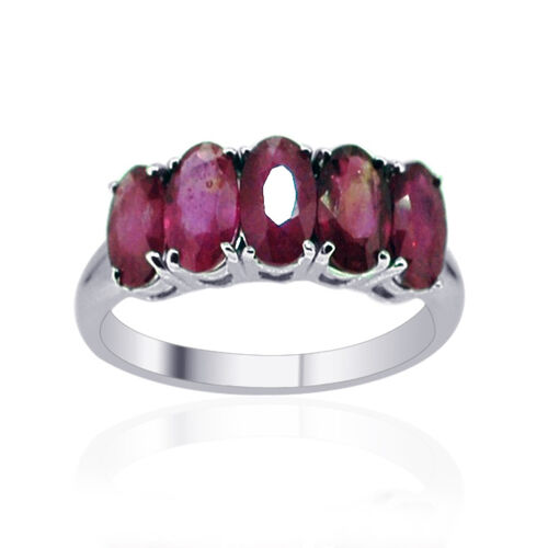 African Ruby (Ovl) 5 Stone Ring in Rhodium Plated Sterling Silver 3.750 Ct.