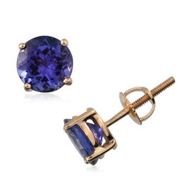 ILIANA 18K Y Gold AAA Tanzanite (Rnd) Stud Earrings (with Screw Back) 2.000 Ct.