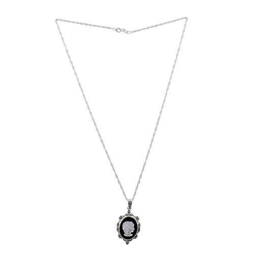 Close Out Deal Marcasite (Rnd) Cameo Pendant with Chain in Sterling Silver 0.500 Ct.