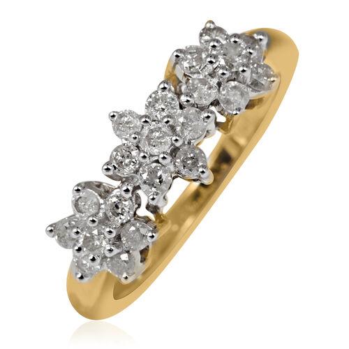 9K Y Gold SGL Certified Diamond (Rnd) (I3/G-H) Triple Floral Ring 0.500 Ct.