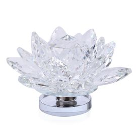 AAA  White Austrian Crystal and Faceted Glass Lotus with Thickened Rotating Mirror Base