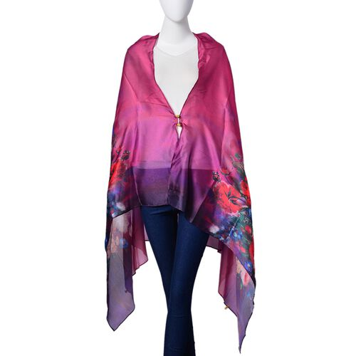 Designer Inspired - Red and Pink Colour Rose Pattern Purple and Pink Colour Multi Functional Poncho (Size 175x98 Cm)
