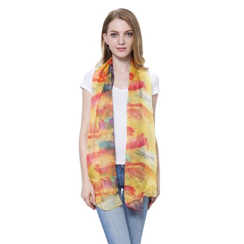 Yellow, Red and Multi Colour Plume Pattern Scarf (Size 170 x70 Cm)