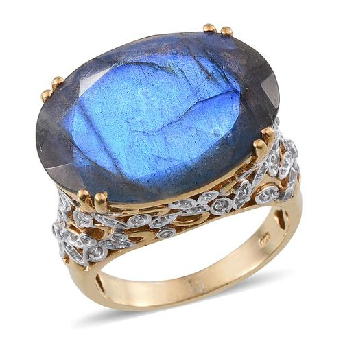 Labradorite (Ovl 19.00 Ct), White Topaz Ring in 14K Gold Overlay Sterling Silver 19.250 Ct.