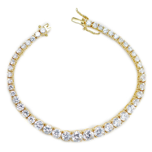 Simulated Diamond (Rnd) Bracelet in 14K Gold Overlay Sterling Silver (Size 7.5)  21.130  Ct.