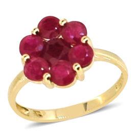 9K Y Gold AAA Burmese Ruby  (Rnd) 7 Stone Floral Pressure Set Ring 2.400 Ct.