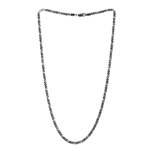 Close Out Deal Black Rhodium Plated Sterling Silver Criss Cross Necklace (Size 24), Silver wt 20.40 Gms.