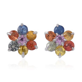 AAA Rainbow Sapphire (Rnd) Floral Stud Earrings (with Push Back) in Rhodium Plated Sterling Silver 1.250 Ct.