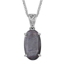 Natural Silver Sapphire (Ovl) Pendant With Chain in Rhodium Plated Sterling Silver 12.000 Ct.