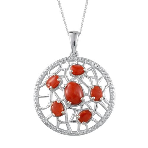 Mediterranean Coral (2.50 Ct) Platinum Overlay Sterling Silver Pendant With Chain  2.500  Ct.