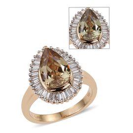 ILIANA 18K Y Gold Natural Turkizite (Pear 3.25 Ct), Diamond Ring 3.750 Ct.