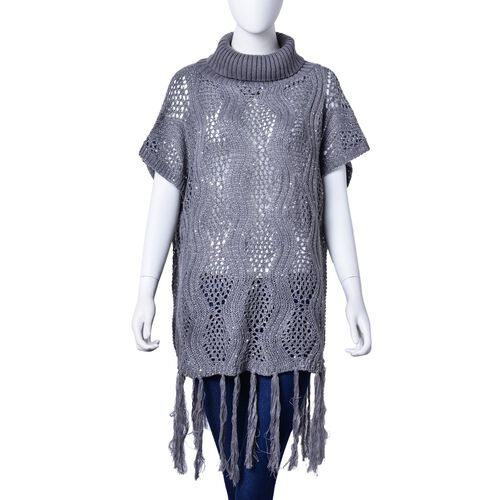 Grey Colour Wavy Pattern High Neck Design Knitted Vest with Tassels (Size 70x60 Cm)