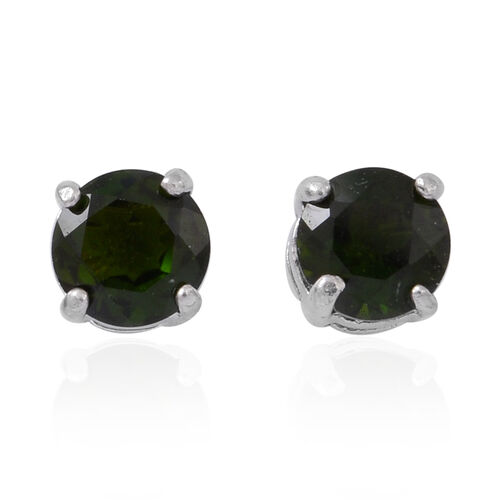 Russian Diopsode (Rnd) Stud Earrings (with Push Back) in Rhodium Plated Sterling Silver 1.000 Ct.