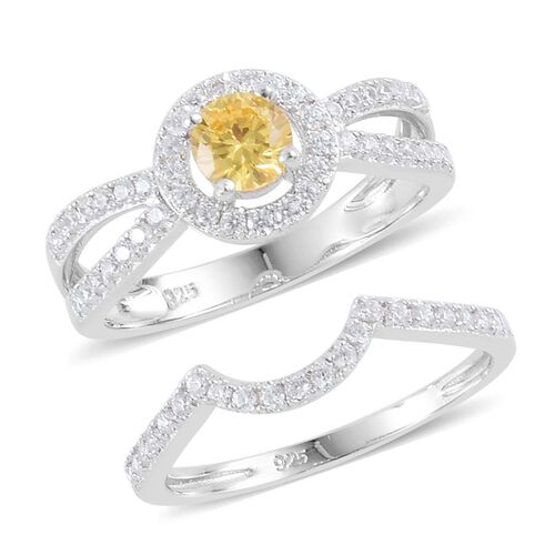 ELANZA AAA Simulated Citrine and Simulated White Diamond 2 Ring Set in Rhodium Plated Sterling Silver