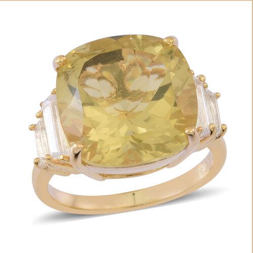 Lemon Quartz (Cush 12.00 Ct), White Topaz Ring in 14K Gold Overlay Sterling Silver 13.000 Ct.
