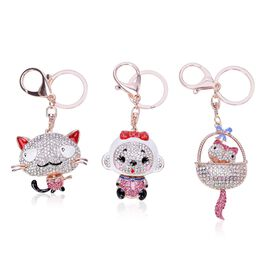 Set of 3 - AAA Pink, White and Multi Colour Austrian Crystal Enameled Cat, Baby and Cat in the Basket Key Chains in Rose Gold Tone