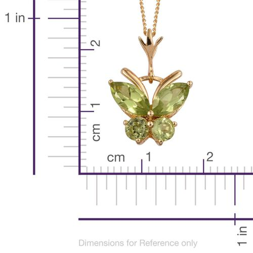 AA Hebei Peridot (Rnd)  Butterfly Pendant With Chain in 14K Gold Overlay Sterling Silver 1.750 Ct.