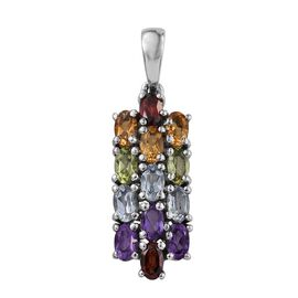 Sky Blue Topaz (Ovl), Hebei Peridot, Mozambique Garnet, Citrine and Amethyst Pendant in ION Plated Stainless Steel 3.000 Ct.