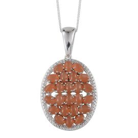 Mitiyagoda Peach Moonstone (Ovl) Cluster Pendant With Chain in Platinum Overlay Sterling Silver 7.250 Ct.