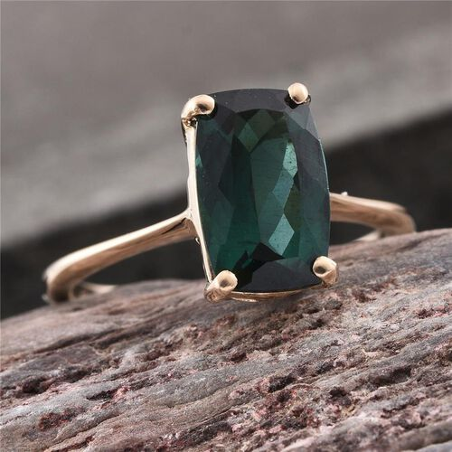9K Y Gold Ocean Blue Apatite (Cush) Solitaire Ring 4.900 Ct.