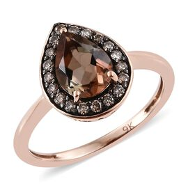 9K R Gold Brazilian Andalusite (Pear 0.85 Ct), Natural Champagne Diamond Ring 1.000 Ct.
