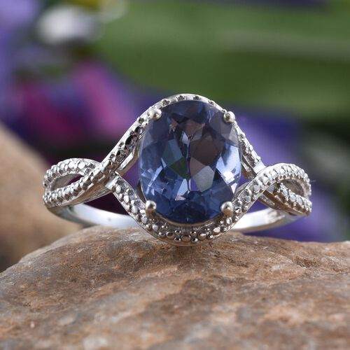 Colour Change Fluorite (Ovl) Solitaire Ring in Platinum Overlay Sterling Silver 3.000 Ct.
