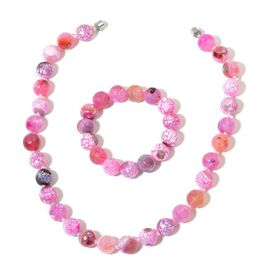 Pink Agate Necklace (Size 18) and Stretchable Bracelet (Size 6.50) in Silver Tone 745.000 Ct.