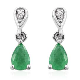 Zambian Emerald, Natural Cambodian Zircon 0.75 Ct Silver Tear Drop Earrings in Platinum Overlay