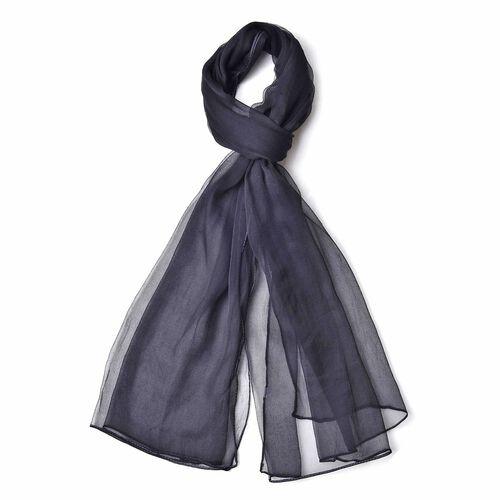 New Season-100% Mulberry Silk Black Colour Scarf (Size 170X70 Cm)