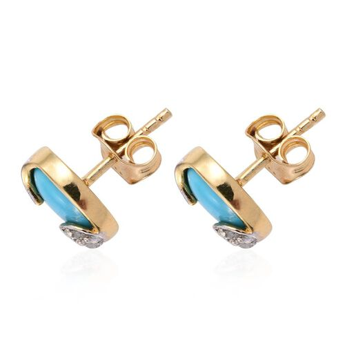 Arizona Sleeping Beauty Turquoise (Ovl), Diamond Stud Earrings in 14K Gold Overlay Sterling Silver 2.520 Ct.