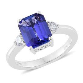 ILIANA 18K White Gold 3 Carat AAAA Tanzanite Ring with Diamond (SI/G-H)