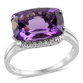 9K W Gold Lusaka Amethyst (Cush 5.50 Ct), Diamond Ring 5.600 Ct.
